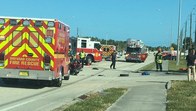 Two people were hospitalized in a motorcycle crash Wednesday on U.S. 1 in Palm Bay.
