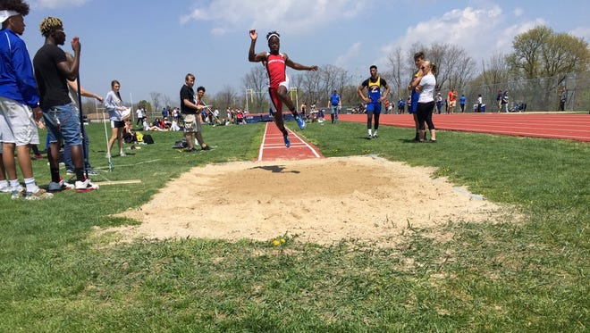 Stanley Miller of Annville-Cleona soared to a win in the long jump en route to earning Outstanding Male Athlete honors.