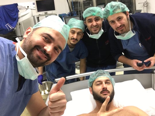 Jake Raak's doctors in Turkey snapped a selfie with him at the hospital.