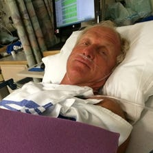 Greg Norman shared this photo of himself in the hospital on Instagram.