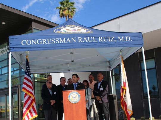 Rep. Raul Ruiz, D-Palm Desert, announces the signing of H.R. 1839, his bill to extend Medicaid programs that protect spouses, allow for homecare for children and punish drug companies that misclassify products at Loma Linda University Children's Health Center in Indio, Calif.
