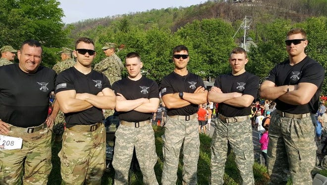 Members of the Army ROTC program from The College at Brockport who competed in the heavy division of the 2017 Mountain Man Memorial March in Gatlinburg, Tennessee. From Left: Lt. Col. Colonel William Carr, Cadet Tyler Brown, Cadet Daniel Nash, Cadet Richard Jacobs, Cadet Andrew Farrell, and Cadet Tyler Vargo.