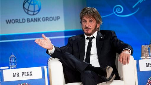 In this Oct. 8, 2015 file photo, Sean Penn speaks during a forum with young entrepreneurs during the IMF and World Bank annual meeting in Lima, Peru. Late Saturday, Jan. 9, 2016, Rolling Stone magazine published an interview that Guzman apparently gave to Penn in his hideout in Mexico months before his recapture. In the article and interview, Penn describes the complicated measures he took to meet the legendary drug lord.