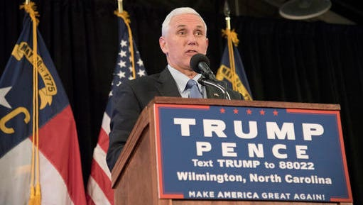 Republican vice presidential candidate Mike Pence speaks at the Coastline Conference & Event Center during a campaign rally in Wilmington, N.C., on Tuesday.