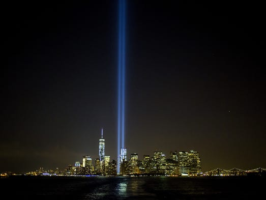 "The ""Tribute in Lights"" shines in New York City. This year marks the 13th anniversary of the9/11terrorist attacks that killed nearly 3,000 people at the World Trade Center, Pentagon and on Flight 93."