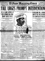 The front page of the El Paso Morning Times after Villa's raid on Columbus, N.M.