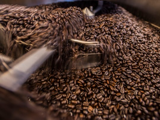 Roasted beans cool off at Gold Ladder Coffee off Susie Wilson Road in Essex Junction next to the Bagel Cafe.