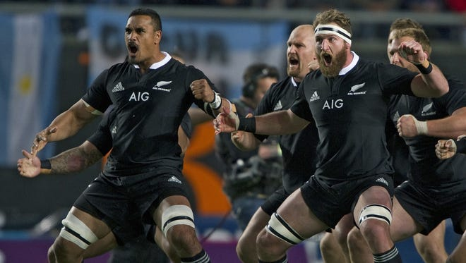 """New Zealand's All Blacks' players perform the """"haka"""" before the start of their Rugby Championship fifth round match against Argentina's Los Pumas at La Plata stadium in La Plata, Argentina on Sept. 27."""
