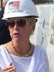 Beach Haven Mayor Nancy Taggart Davis during a groundbreaking ceremony for the town's new borough hall.