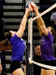 Team Light Purples' Maria Drawbaugh, left, and Team
