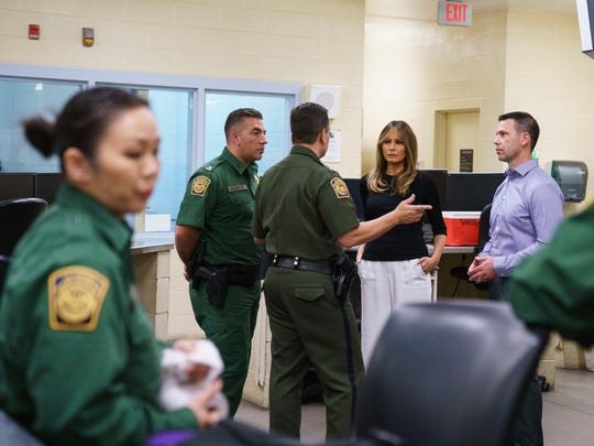 First lady Melania Trump talks with Border Patrol agents as she visits a processing center of a U.S. Customs and Border Protection facility in Tucson on June 28, 2018.