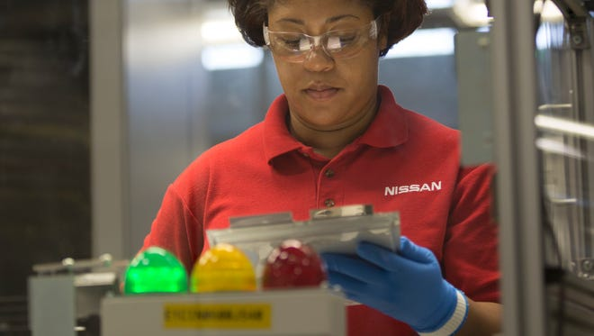 The process of making a lithium-ion battery at Nissan's battery plant in Smyrna is highly automated. Workers only touch the batteries once during the month-long process as part of quality control.
