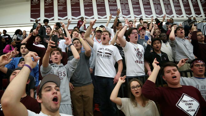 U-D fans cheer during the 47-39 win in last season's Class A regional final on March 16 at Detroit Renaissance.