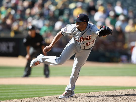 Tigers pitcher Francisco Rodriguez throws against the Athletics in the ninth inning of the Tigers' 8-6 loss Sunday in Oakland, Calif.