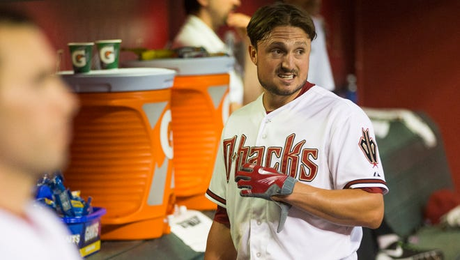 Arizona Diamondbacks catcher Jordan Pacheco gets a drink of water during a game against the Atlanta Braves at Chase Field on June 2, 2015.