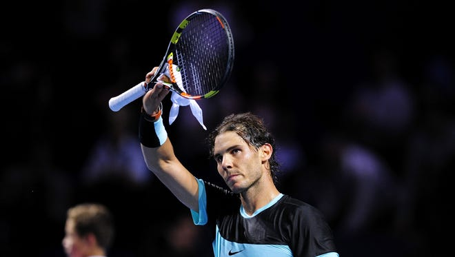 Rafael Nadal of Spain celebrates his victory after the second day of the Swiss Indoors ATP 500 tennis tournament against Grigor Dimitrov of Bulgaria at St Jakobshalle on October 28, 2015 in Basel, Switzerland.