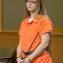 Angelika Graswald stands in Orange County Court bail hearing in Goshen on May 13.
