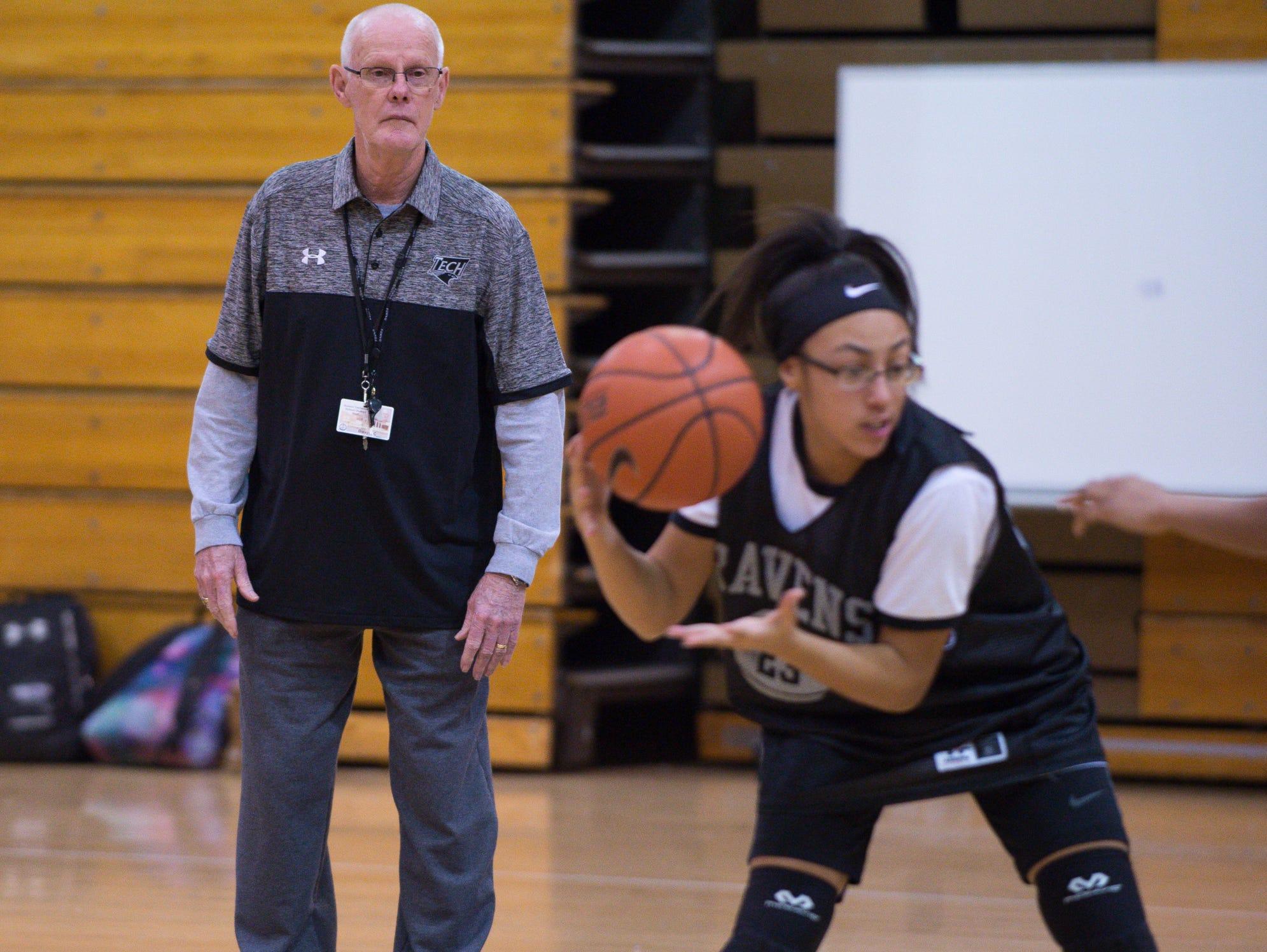 Sussex Tech girls basketball coach Chester Davis keeps an eye on a drill during a recent Ravens practice.