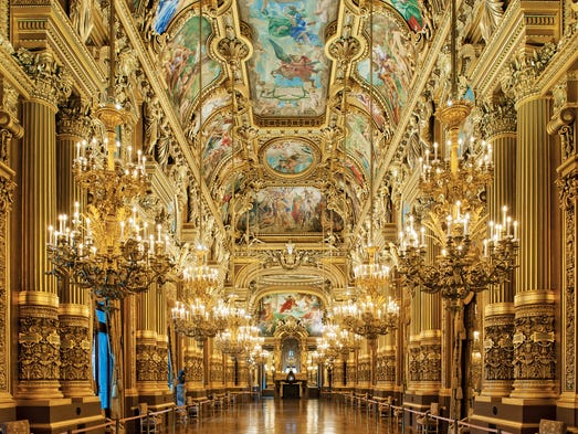 The Palais Garnier in Paris is named for its architect Charles Garnier. The foyer's long hall of mirrors was inspired by Versailles.