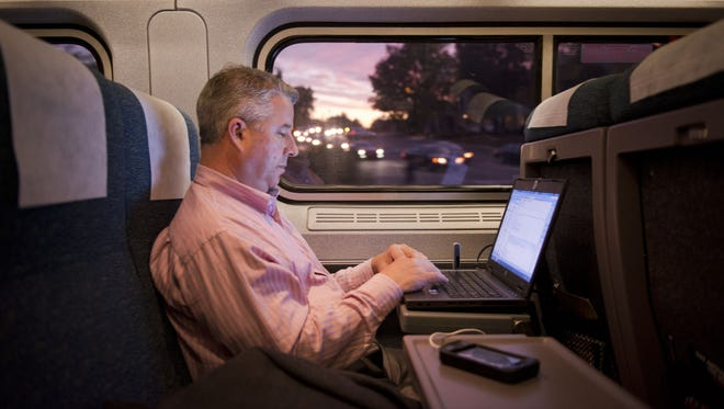 Amtrak offers an unimpeded personal work space, with a comfortable seat, fairly consistent Wi-Fi access and no fighting for overhead bin space.