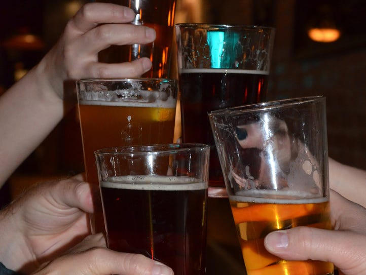 Cheers at Cricket Club, 36 West Michigan Avenue, in
