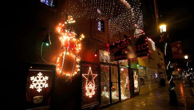 Crash Music's Christmas display is pictured Dec. 17, 2014 at 104 North Main Ave. in Aztec.