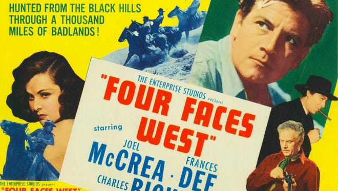 """""""Four Faces West"""" (1948), starring Joel McCrea and Frances Dee, filmed in El Morro, White Sands and Gallup."""