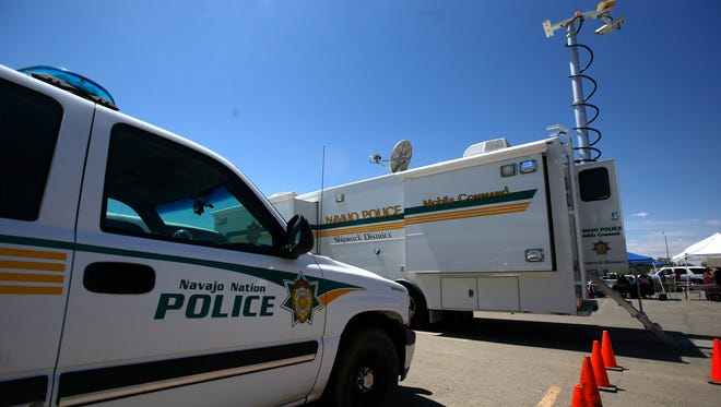 A Navajo Nation Police Department vehicle and mobile command center as seen earlier this month during Law Enforcement Day at the Shiprock Police Department.