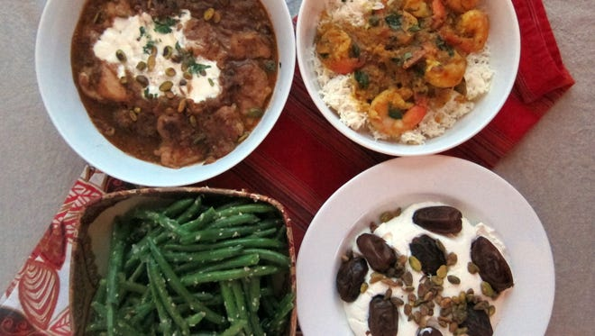 A flavorful Indian meal for winter: Pistachio and Yogurt Chicken Curry, Goanese Shrimp Curry, Ginger and Fenugreek Green Beans and Fried Dates with Sweetened Saffron Yogurt.