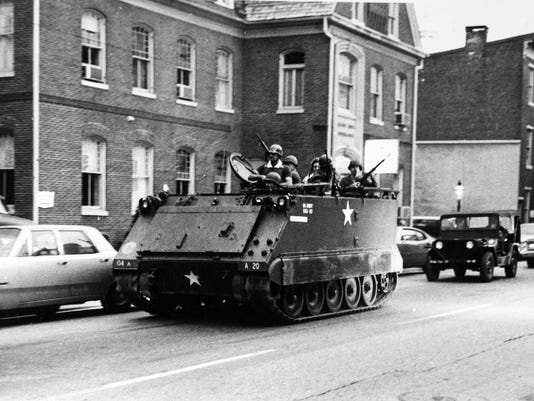 Armored vehicles rolled through York during the 1969 riots.