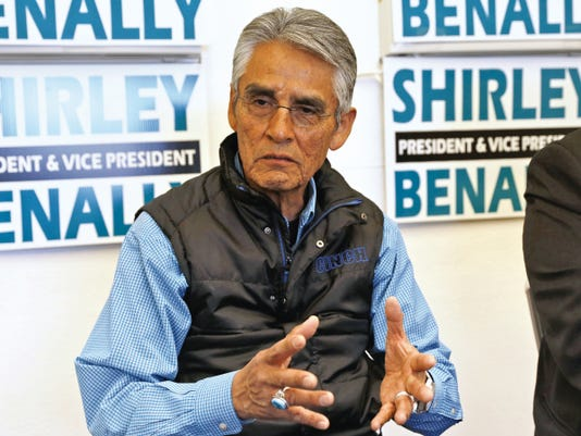 Navajo Nation presidential candidate Joe Shirley Jr., speaks about the elections on Monday during an interview at his campaign headquarters in Window Rock, Ariz.
