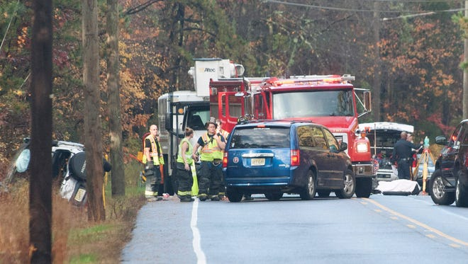 Waterford Township police investigate a serious accident on Jackson Road in Atco.