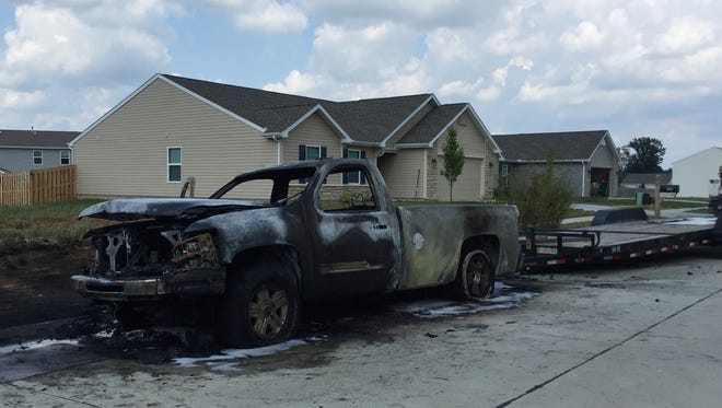 A car exploded on Morallion Drive on Sunday.