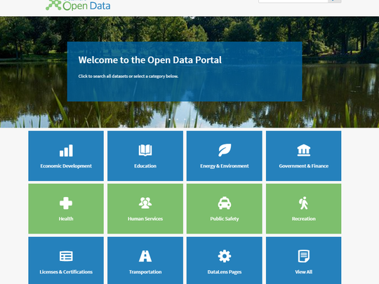 The main page of Delaware's new open data portal, which will go live Wednesday evening, is shown. For now, the site is password protected.