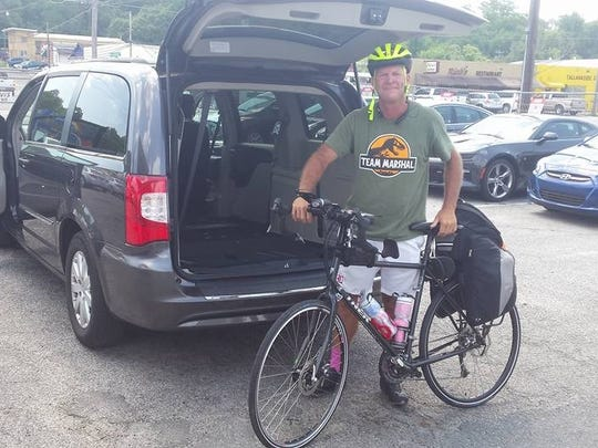 Kevin Record packed  his bike and drove to from Tallahassee to Virginia to begin his bike ride.