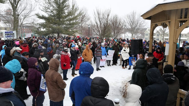 West High senior Lujayn Hamad speaks to a large crowd at College Green Park during the March For Our Lives protest on Saturday, March 24, 2018 in Iowa City, Iowa.