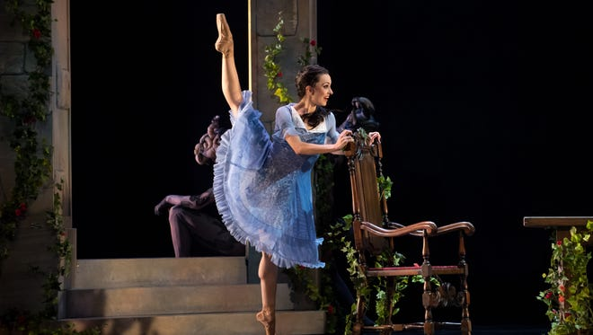 """As Belle, Nicole Teague-Howell tames the creature in Milwaukee Ballet's """"Beauty and the Beast."""""""