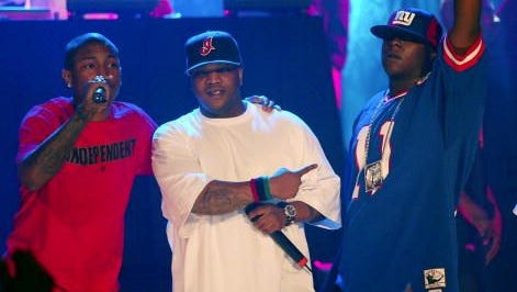 The Lox performs with Clipse and Pharrell of N.E.R.D. during the MTV2's $2 Bill Concert Series at The World in Times Square, New York City. 10/2/02  Photo by Scott Gries/Getty Images