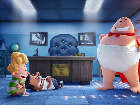 "Harold (voiced by Thomas Middleditch) and George (voiced by Kevin Hart) crack up at the sight Captain Underpants (voiced by Ed Helms) in ""Captain Underpants: The First Epic Movie."""
