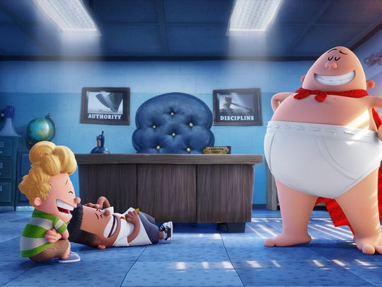 "(L-R) Harold (voiced by Thomas Middleditch) and George (voiced by Kevin Hart) crack up at the sight Captain Underpants (voiced by Ed Helms) in ""Captain Underpants: The First Epic Movie."""