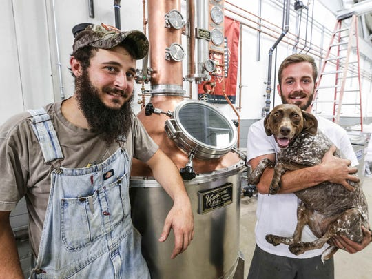 Mason Lamping (left) and Matt Lamping are opening 8th Day Distillery inside the Circle City Industrial Complex.