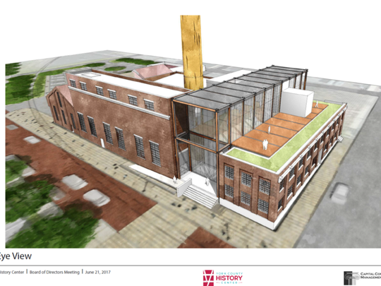 This rendering by Warehaus shows a bird's eye view of the new York County History Center, which officials hope to open in early 2020. The new history center will repurpose the former Met-Ed steam plant and an adjacent building at the corner of North Pershing Avenue and West Philadelphia Street.