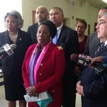 Congressional Black Caucus addressing media in Ferguson.