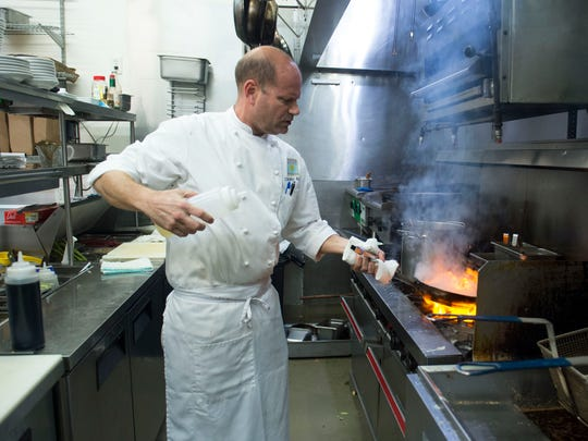 """For me cooking is a release,"" said Chris Bireley, head chef and owner of Osceola Bistro, seen in the kitchen Tuesday, Jan. 30, 2018, in Vero Beach. Bireley will soon be the managing chef for three restaurants when Rooster in the Garden and The Braford Steakhouse open at the Galleria of Pierce Harbor in Fort Pierce. ""I'm excited to run three restaurants,"" Bireley said, who is a Vero Beach native and will be serving local food in each establishment. To see video and more photos, go to TCPalm.com."