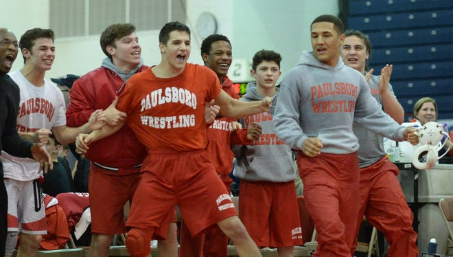 Paulsboro wrestlers celebrate after defeating Emerson Park Ridge Group 1 state championship last February. The Red Raiders haven't lost in two years. They will face perennial national powerhouse Bergen Catholic this season.