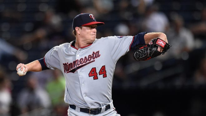 Minnesota Twins starting pitcher Kyle Gibson (44) pitches against the Atlanta Braves during the ninth inning Wednesday at Turner Field in Atlanta. The Twins defeated the Braves 10-3.