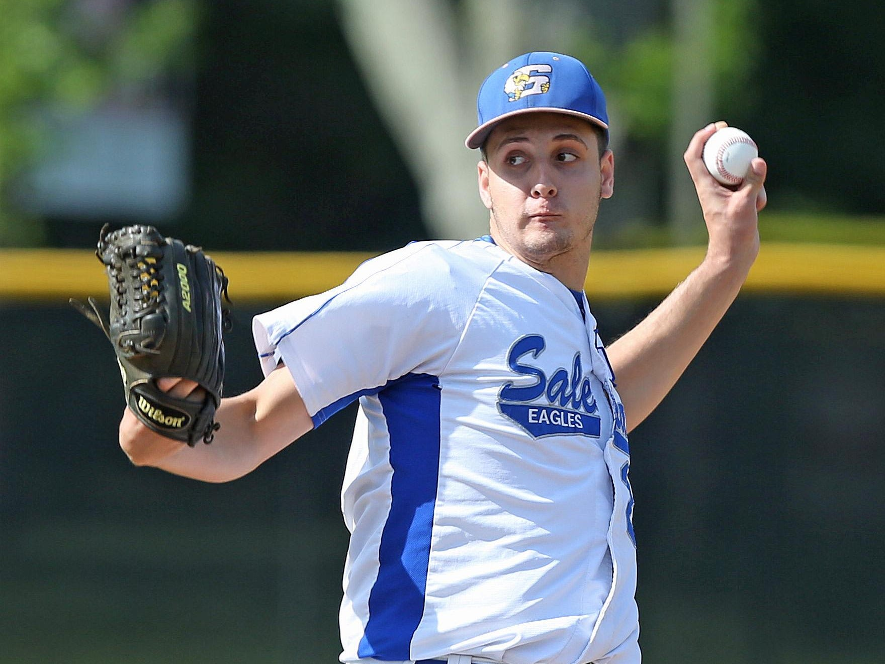 Salesian's Nicky Gennarelli pitching against Iona during the CHSAA baseball championship tournament at Manhattanville College in Purchase June 3, 2015. Salesian won the game 2-1.