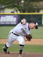 Abilene High's Andrew Bennett throws a pitch during
