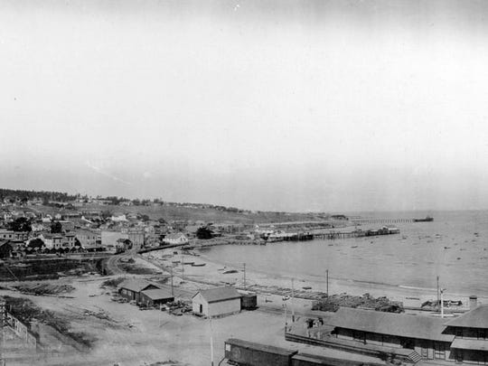 A panoramic view of Monterey Harbor from the mid-1920's.
