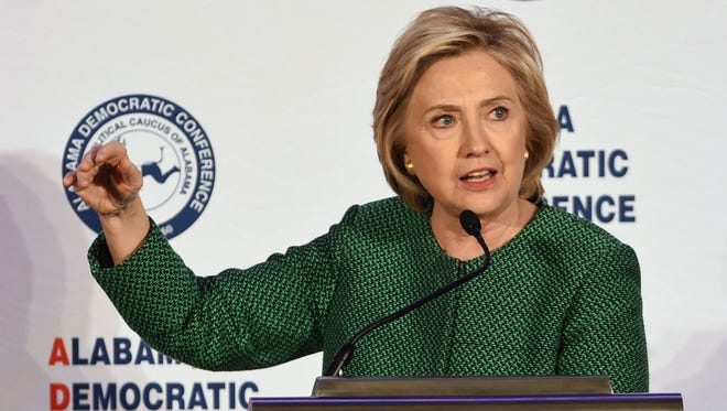 Hillary Clinton speaks during a meeting of the Alabama Democratic Conference in Hoover, Ala., on Oct. 17, 2015.